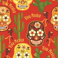 Vector seamless pattern with traditional Mexican symbols.