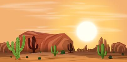 A hot desert landscape vector