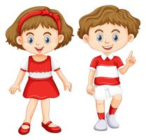 Boy and girl wearing shirt with red and white striped