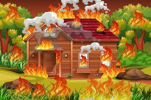 Trähus i brand