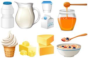 Dairy products set with milk and honey vector