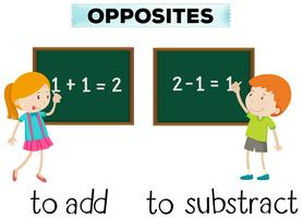 Opposite words for add and subtract