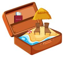 Summer beach vacation in suitcase