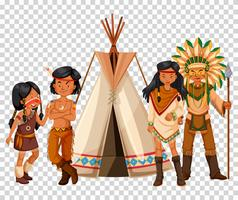 Native American family and teepee