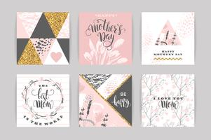 Set di Happy Mothers Day lettering auguri con fiori.