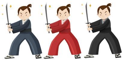Samurai em traje de três cores