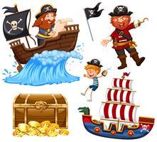 Um conjunto de pirata vector