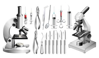 Different medical equipments and tools vector