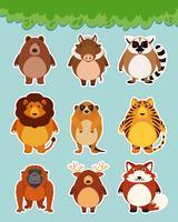Sticker met schattige dieren op blauwe achtergrond