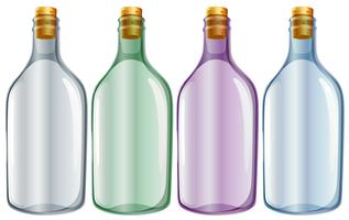 Four glass bottles vector