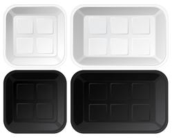 Set of empty plastic trays