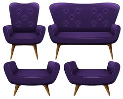 Sofa and chairs in purple