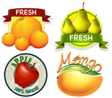 Label design with word and fresh fruits