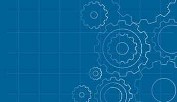 Gears on Blue Background Template vector