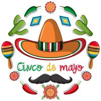 Cinco de mayo kaartsjabloon met Mexicaanse decoraties