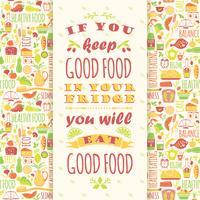 Hälsosam kost bakgrund med citat
