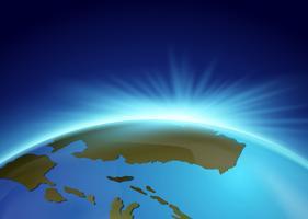 Helder licht achter de aarde