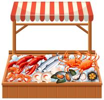 A seafood stall on white background