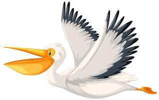 Ein Pelikan Charakter fliegt