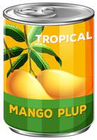 Can of tropical mango pulp