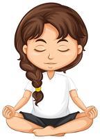 Una meditación de niña sobre fondo blanco