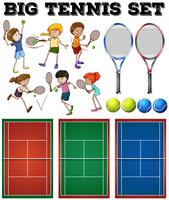 Tennis players and courts vector