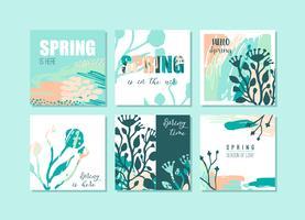 Set abstracte creatieve lente-kaarten. Frisse kleuren.