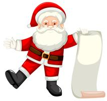 A santa holding paper list