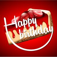 Modelo de cartão de feliz aniversário com cheesecake