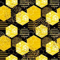 Naadloos geometrisch patroon met bij. Modern abstract honingsontwerp.