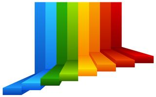 A Colourful Stairway on White Background vector