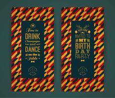 Alles- Gute zum Geburtstageinladung, Retro- Hintergrund der Weinlese mit geometr