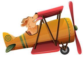 Un perro que monta el avión en el fondo blanco