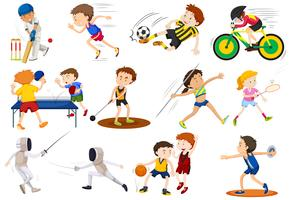 Pessoas fazendo diferentes tipos de esportes