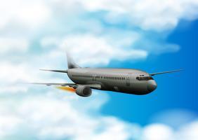 Flygplan som flyger i den blå himlen