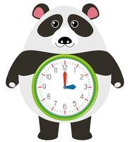 Um personagem de relógio panda