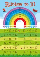 Addition worksheet with rainbow in background