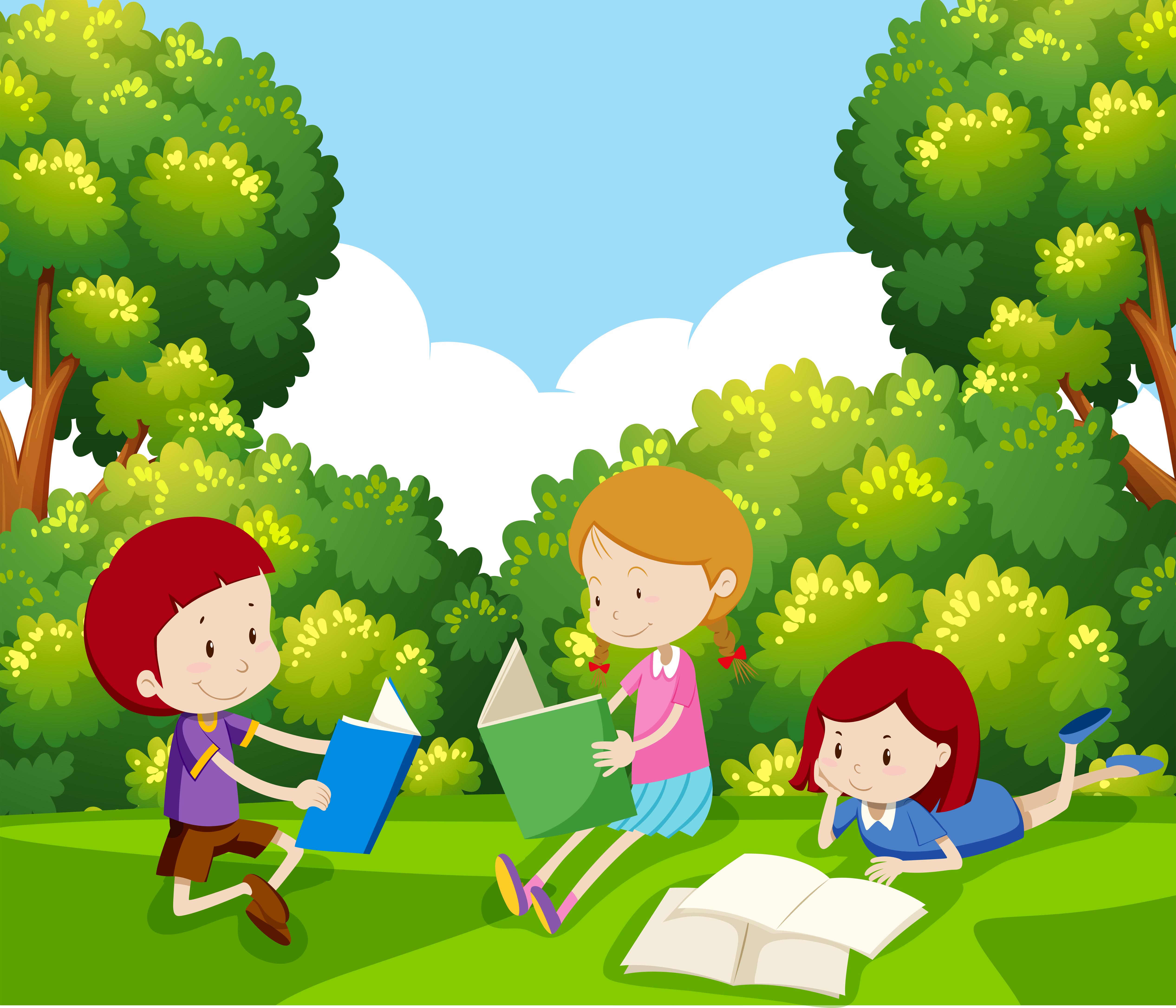 Children Reading A Book Under Tree Download Free Vectors Clipart Graphics Vector Art Winter colorful cartoon christmas tree set vector. vecteezy
