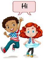 Två amerikanska barn säger hej
