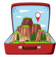 Nature mountain in suitcase