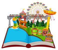 Pretpark-thema met open boek