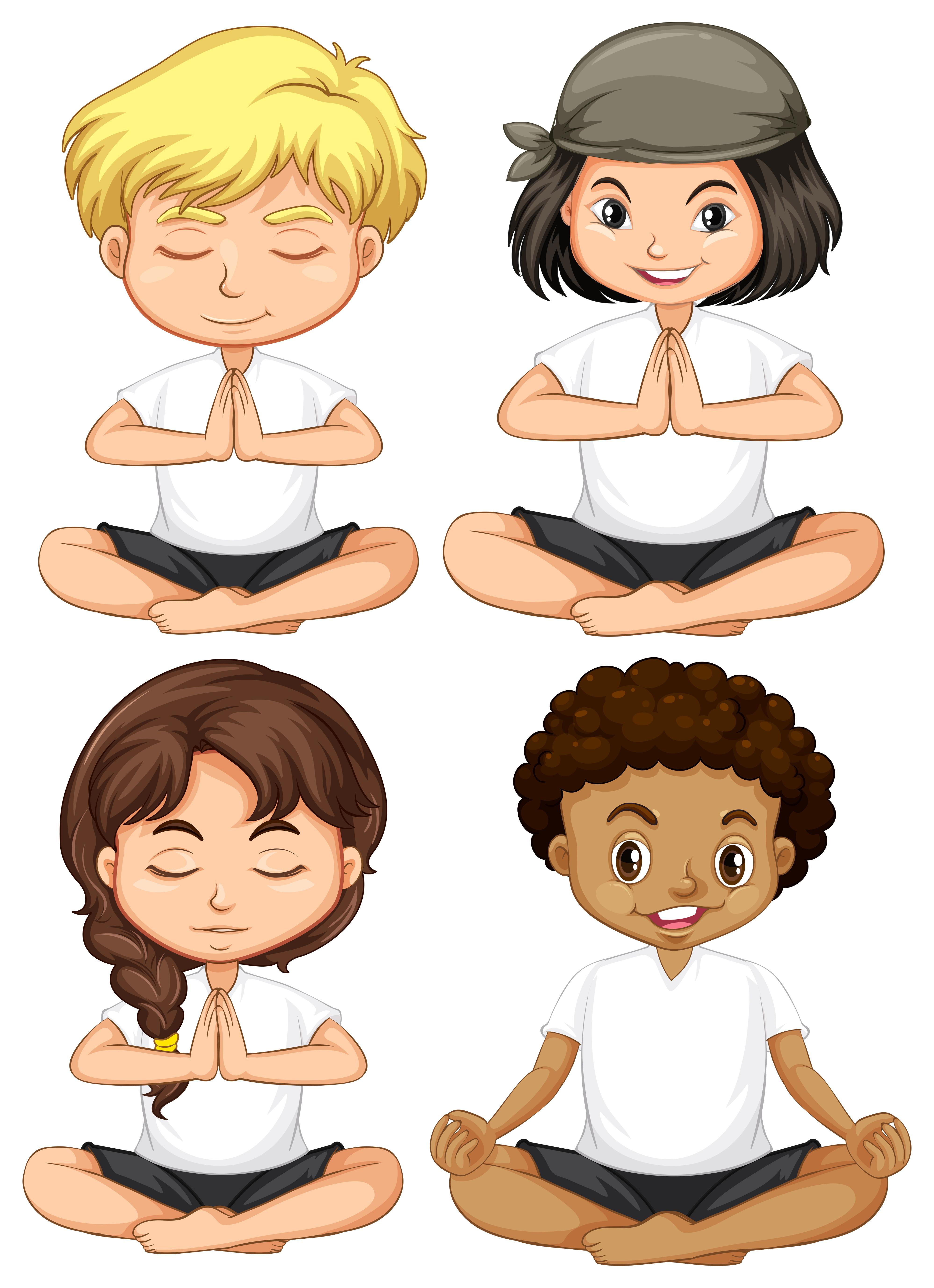Conjunto De Criancas Meditar Download Vetores Gratis Desenhos