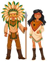 Two native american indians in costume