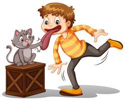 Ein Junge und eine Katze