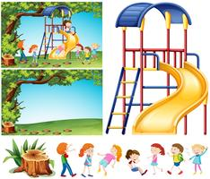 Playground scene with happy children