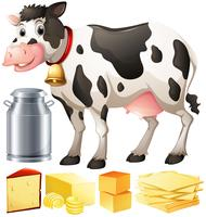 Cow and other dairy produtcs vector