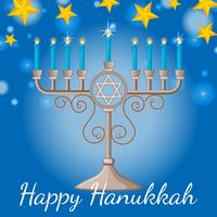 Happy Hanukkah card with blue candles and stars at night