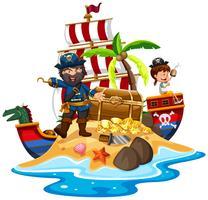 Pirata e navio na ilha do tesouro