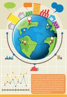 Een infographics die de wereld toont