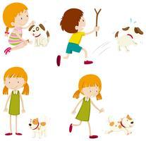 Sats av olika små barn och hundar